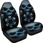 Skull Face Car Seat Cover Gray Set of 2