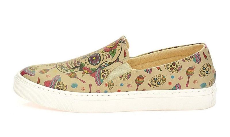 NEW GOBY SUGAR SKULL FLORAL SLIP-ON SNEAKER TENNIS SHOES BEIGE