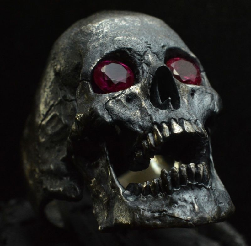 Into The Fire Jewelry - Skull ring Large open jaw with Rubies Men .925 Silver