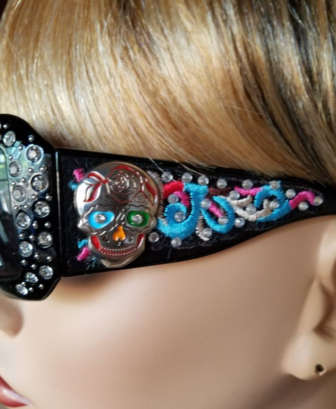 Black Frame Rhinestone Sugar Skull Embroidered Bling  Sunglasses U V 400