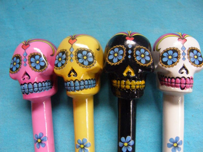 Day Of The Dead Sugar Skull Set of 4 Novelty Writing Pens