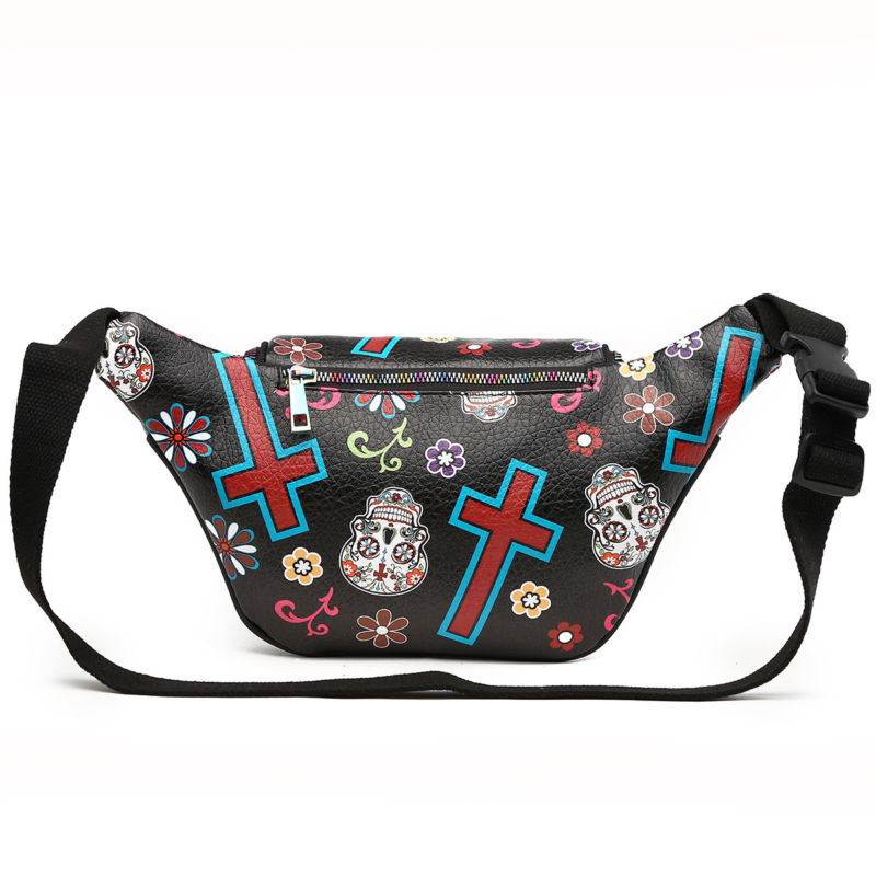 Sugar Skull Fanny Pack Day of the Dead Running Waist Bag Fashion Calavera Purse
