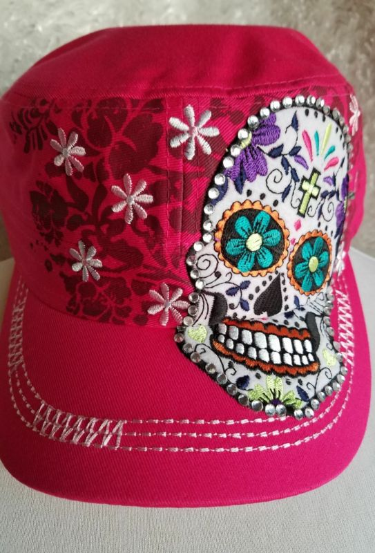 Sugar Skull  Pink Hat Factory Distressed Cap Adjustable