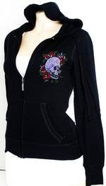 JUNIOR LIGHT HOODIE SKULLS BONES RHINESTONE TOP SKULL NEW S - 2XL