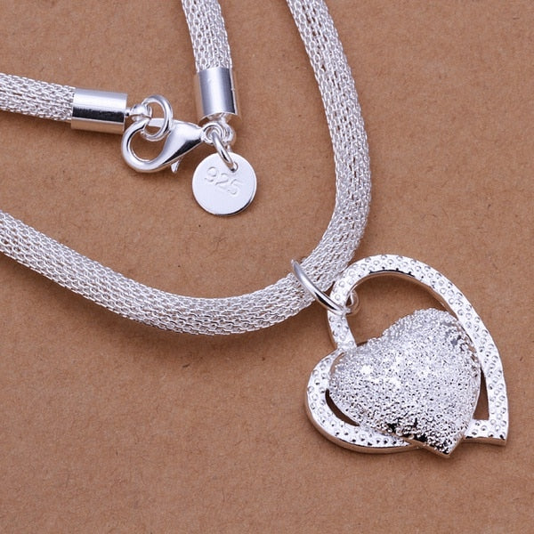 silver plated gorgeous charm fashion charm heart wedding lady love zircon necklace noble luxury 18 inches Silver jewelry hot
