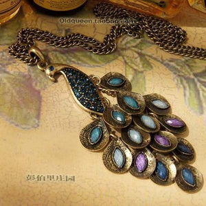 Long Chain Colorful Peacock Pendant Sweater Necklace fashion necklaces