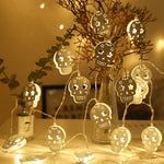 3M Battery Operated Halloween White Hollow Metal Skull LED String Lights Halloween holiday Christmas Party