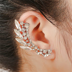 Fashion Clear Crystal Ear Cuff Earrings Women Party Jewelry Gold/Silver Color Cute Bridal Earrings Alloy Leaf Ear Clip Earring