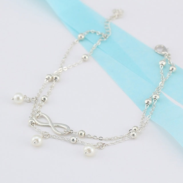 Fashion Simple Women Vintage Anklet Cross Shape Creative Stone Beads Girl Summer Beach Ankle Bracelet Boho Anklets Foot Jewelry