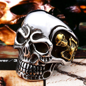 Beier new store 316L Stainless Steel ring top quality Big Tripple Skull Ring Punk Biker jewelry