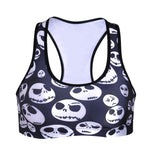 Summer Sexy Girl Women Hallowmas blood skull 3D Prints Padded Push Up Vest Top Chest Polyester Workout Bras