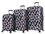 "Betsey Johnson Luggage Hardside 3 Piece Set Suitcase With Spinner Wheels (20"" 26"" 30"") (One Size, Skull Party)"
