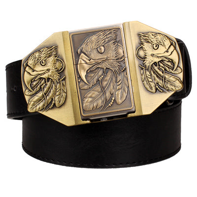 Golden skull Novelty cigarette lighter belt men's leather belt