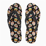 Mexico Skull Print Flip Flops Soft Rubber Sole Flat Slippers
