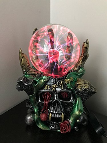 Aibote Magic Skull Head Glass lightning Plasma Ball Touch Sensitive Night Light Lamp