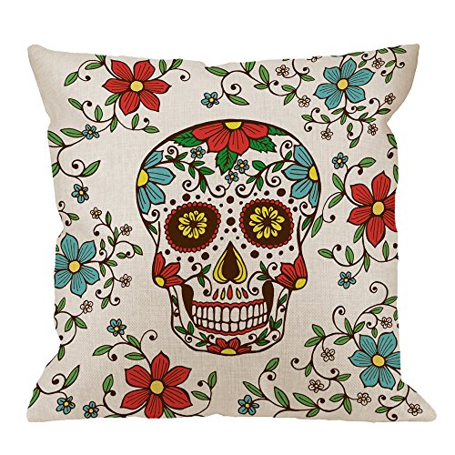 Day of The Dead Decorative Throw Pillow Cover Case,Colorful Skull with Floral Cotton Linen Outdoor Pillow cases Square Standard Cushion Covers For Sofa Couch Bed 18x18 inch Red Green