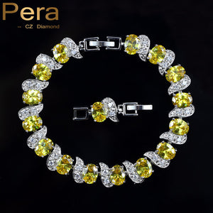925 Sterling Silver Bridal Wedding Party Jewelry Super White Cubic Zirconia Chain & Link Bracelet For Brides B081