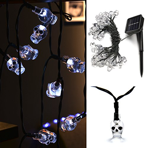 White Skull Lights String, 20ft 30 LED Cool Party Light