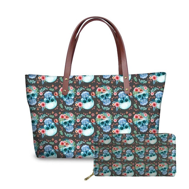 Set of 2 Handbag&Wallet Women Sugar Skull Printing