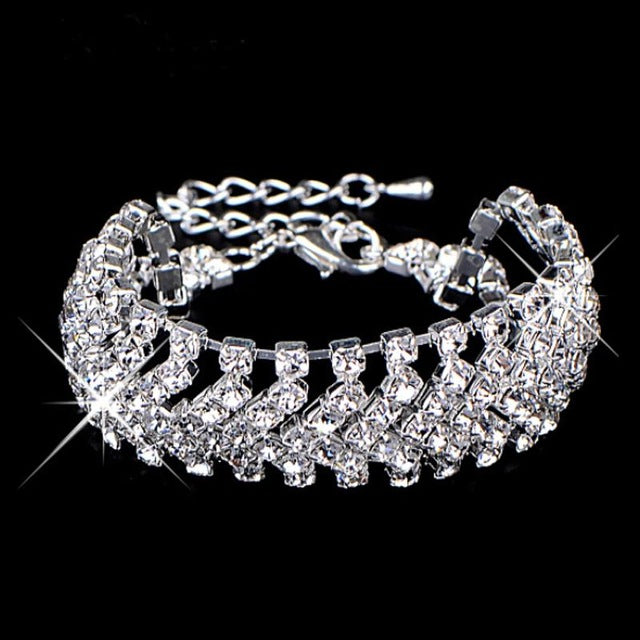 Brand Designer Fashion Gold Color Charming Bride Sliver Plated Wedding Crystal Jewelry Shiny Wide For Women 2 Colors