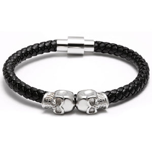 19/20cm Men Leather Jewelry Black Genuine Leather Gold Stainless Titanium Steel Double Skull Bracelet Bangles