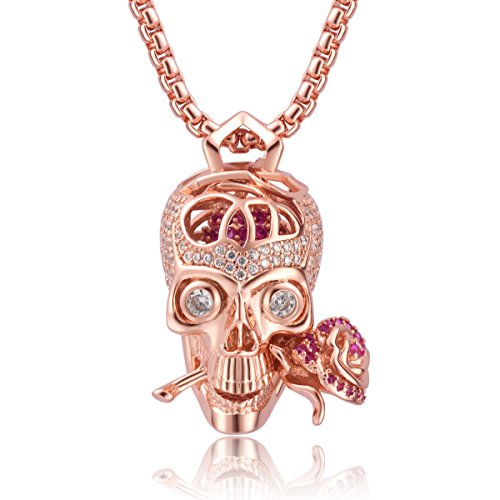 Romance Forever Skull & Rose Charm Unisex Pendant Necklace - Ship to US & CA only