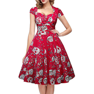 Women Vintage 50s 60s Square Collar Wrapped Chest Plus Size 4XL Swing Rockabilly Pin Up Dress