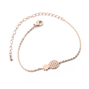 Pineapple Bracelet For Women Dainty Gifts BFF Jewelry 2017 Friendship Stainless Steel Rose Gold Ananas Bracelet Femme