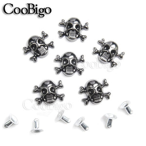 100pcs 12x14.5mm Skull Cross Bone Rivet Studs Spikes Punk DIY Leather Craft for Apparel Clothing Shoe Bag Parts Accessories