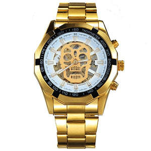 New Fashion Mechanical Watch Men Skull Design Top Brand Luxury Golden Stainless Steel Strap Skeleton Man Auto Wrist Watch
