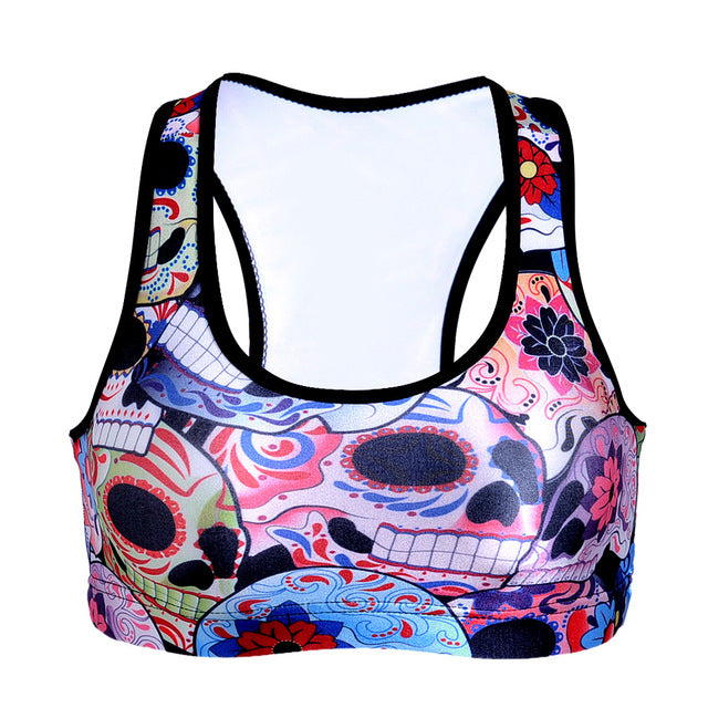 New Sports Bra Skulls & Flowers Patterm Cropped Tops Summer Women GYM Padded Yoga Bustier Fitness Vest Push Up