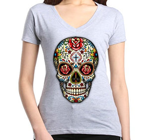Skull Red Roses Women's V-Neck T-shirt Day of the Dead Shirts