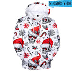 Full Printed 3D Christmas Hoodies Skull Sweatshirts Christmas Sweatshirt