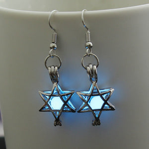 High Quality Hollow Five Pointed Star Drop Earrings Glowing in The Dark Vintage Silver Color Luminous Jewelry Earring For Women