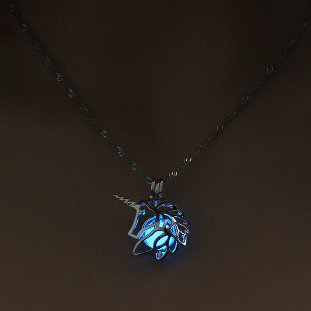 Glow in The Dark Hollow Animal Unicorn Necklace  Women Jewelry Luminous Silver Pendant Chain Choker Necklaces