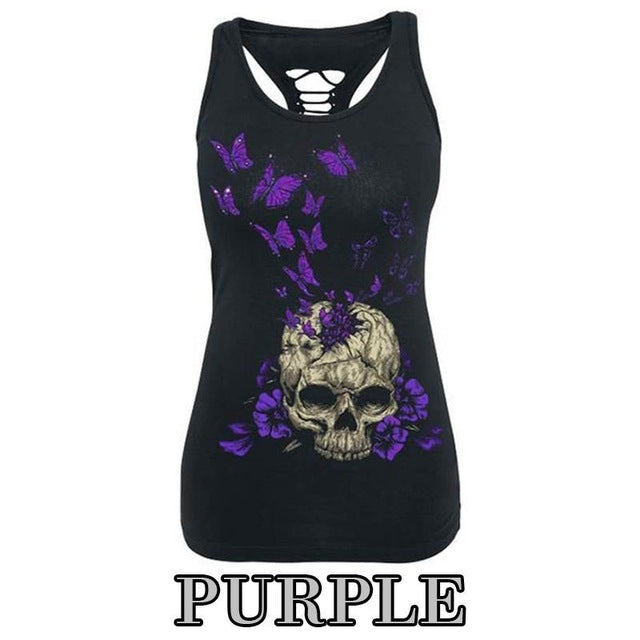 Summer Fashion Women T-Shirt Skull Print Hollow Out T-Shirt O-Neck Sleeveless Sexy Tee Top Plus