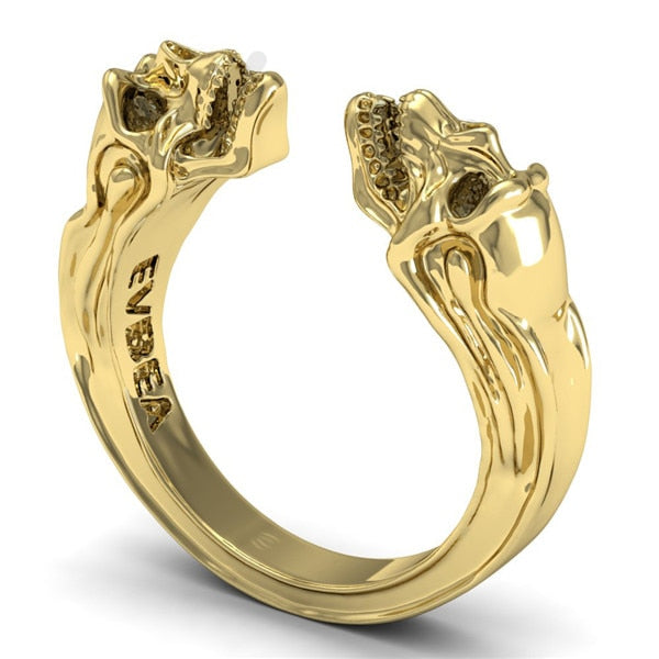 925 Sterling Silver Ring Gemini Skull Gold Two Open Skull Ring Designs Are Bold With Fierce Punk Depth Of The Retro-Style