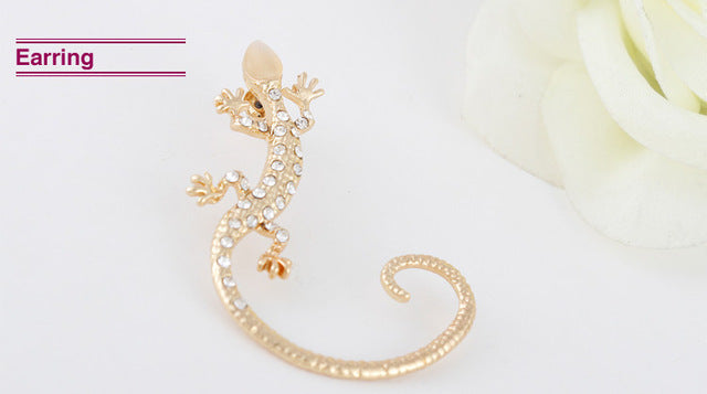 Gothic Punk Crystal Lizard Ear Cuffs for Women Gold Color Silver Color Rhinestone Animal Geckos Clip Earrings 1PC