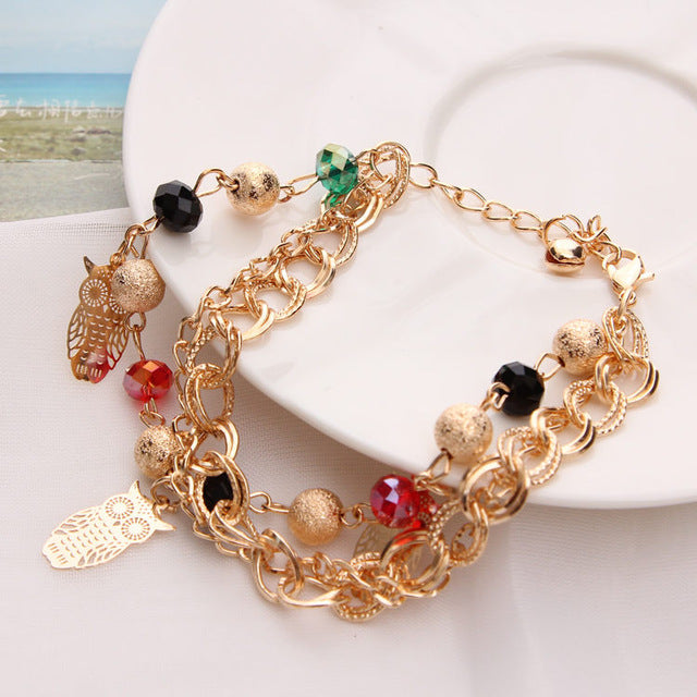 Gold Color Multilayer Beaded Pendant Bracelets and Bangles Fashion Women Heart Butterfly Charm Bracelet Jewelry Accessories