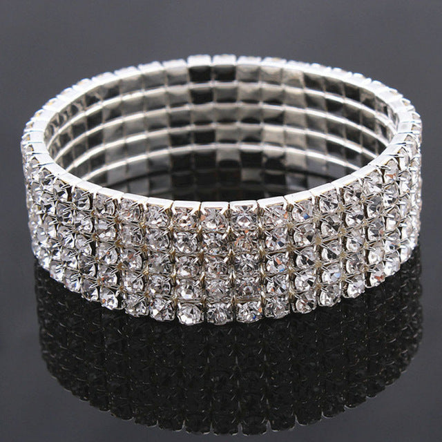 1PC Fashion Hot Sale Popular Bracelet For Women Crystal  Stretch Shine Wedding Bridal Gift