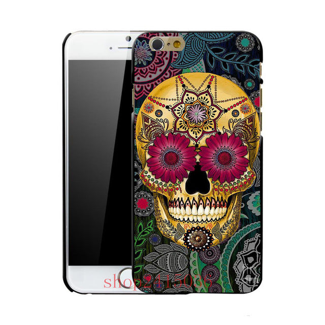 Mexican sugar skull 3 fashion mobile phone hard case cover for iphone 4 4S 5 5S 5C SE 6 plus 6s plus 7 7 plus 8 8plus x