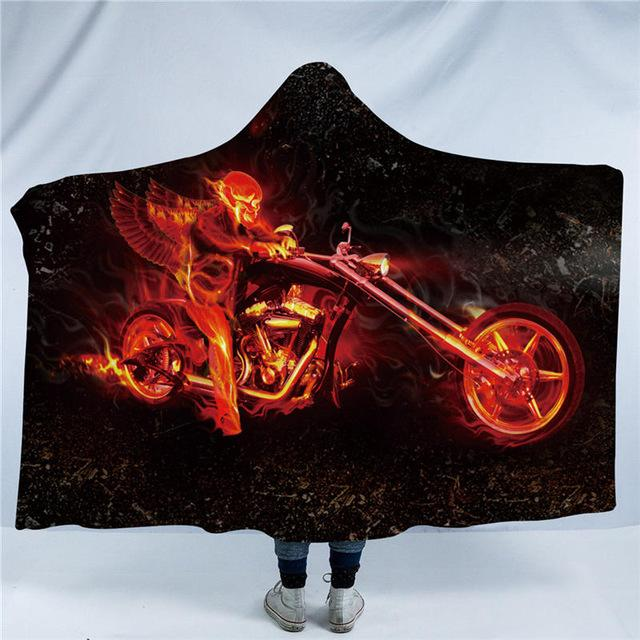 Skull Collection Hooded Blanket for Adults Flame Motorcycle Sherpa Fleece Wearable Blanket Throw Blanket Bedding