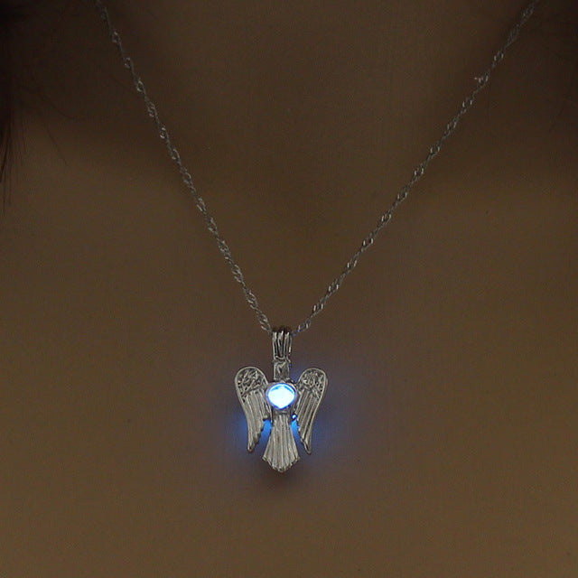 Angel Wings Pendant Supernatural Necklace Women Jewelry Luminous Necklace GLOW in the DARK gift