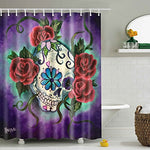 "Messagee Unique and Generic Sugar skull tattoo Shower Curtain Custom Printed Waterproof fabric Polyester Bath Curtain 72""(w) x 72""(h) Inches Bathroom Decor"
