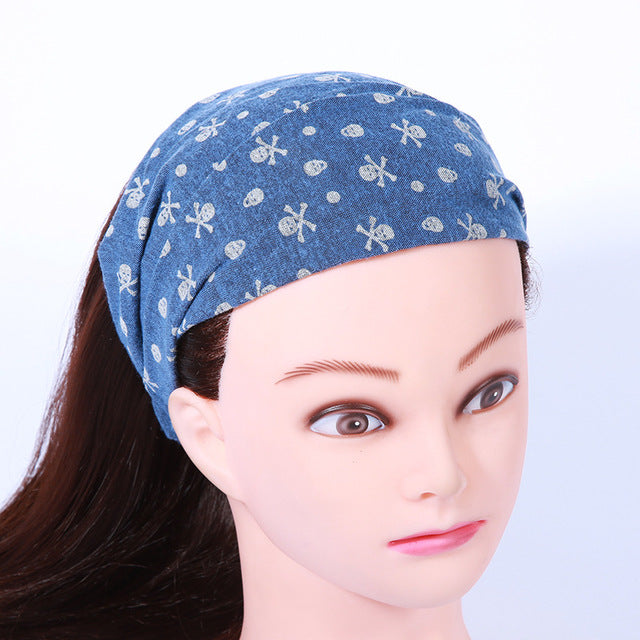 10pcs Bohemian Elastic Headbands Skull Print Turban Girls Hairbands Women Girls Headwrap Hair Accessories