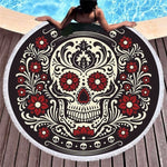 Sugar Skull Hippie Flowers Round Beach Towel