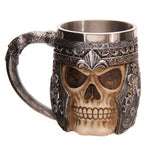 5 Design Creative Double Wall Stainless Steel 3D Skull Mugs Coffee Mug Skull Knight Tankard Dragon Drinking Cup Canecas Copo