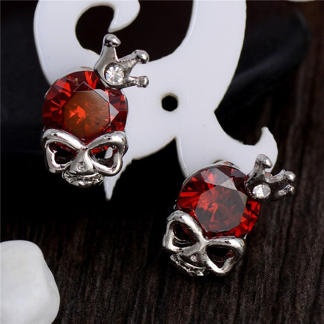 7 colors Silver color Skull with crown stud earrings cubic zirconia CZ zircon Jewelry  for women girl gift