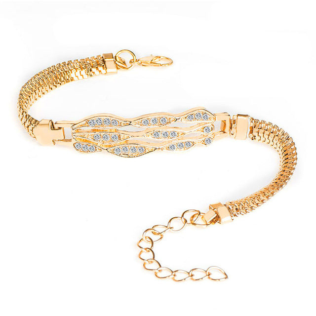 Brand Round Crystal CZ Hand Chain Bracelets for Women Gold Color Twisted Bracelet & Bangle Engagement Jewelry Wholesale