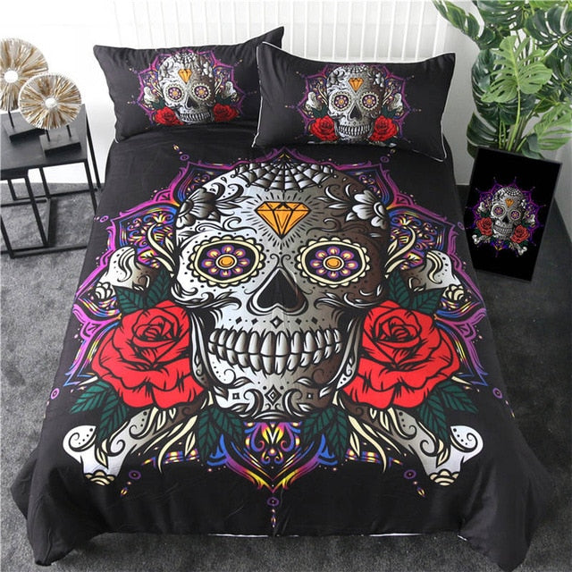 Sugar Skull Bedding Set 3pcs